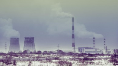 winter landscape with nuclear power plant